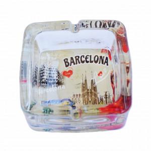 Scrumiera Pufo din sticla, model Love Barcelona, 9,5 cm