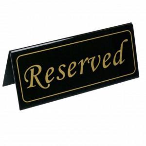 Semn marcaj pentru masa la restaurant, Reserved, negru