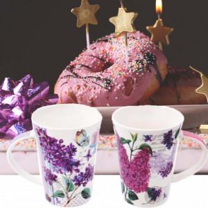 Set 2 cani portelan Purple flower, 375 ml, Pufo