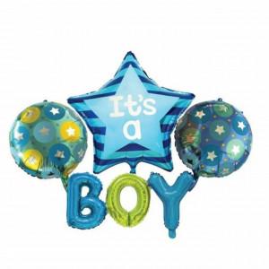 Set 4 baloane aniversare It's a Boy, albastru, Pufo