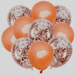 Set 70 baloane de diferite dimensiuni pentru petrecere, aranjament tip arcada, auriu, alb cu roz, Pufo