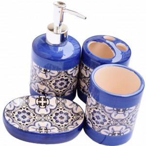 Set ceramica pentru baie compus din 4 piese, Pufo Blue Models, albastru