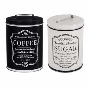 Set de 2 cutii metalice pentru depozitare zahar si cafea, 1,4 L