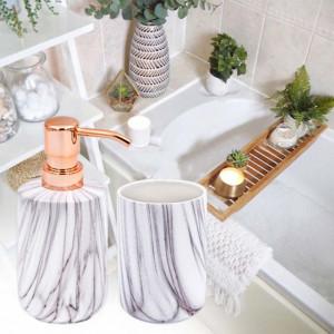 Set dispenser sapun lichid si suport periuta de dinti din ceramica, alb cu dungi, Pufo
