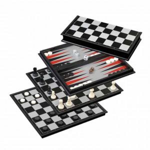 Set joc 3 in 1 de sah, dame, table pentru copii si adulti cu piese magnetice, 38 cm