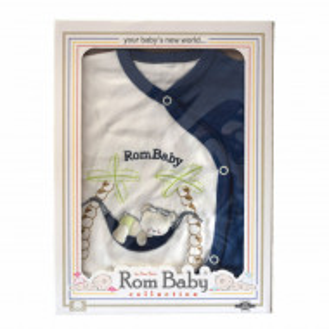 Set nou nascuti 0-3 luni 100% bumbac din 5 piese: pantaloni cu botosel, bluzita cu capse, bavetica, caciulita, manusi, model alb/albastru cu ursulet