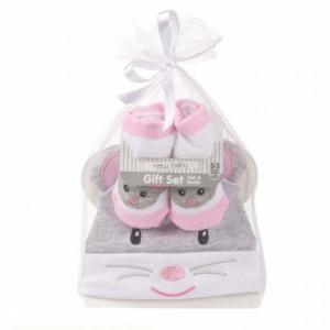 Set nou nascuti 0-3 luni Pufo compus din caciulita si sosete, model Little Bunny