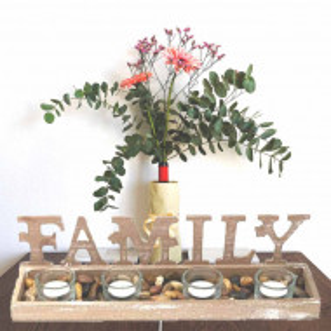 Set suport Pufo Family din lemn pentru lumanare cu 4 pahare, 38,5 cm