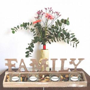Set suport Pufo Family din lemn pentru lumanare cu 4 pahare