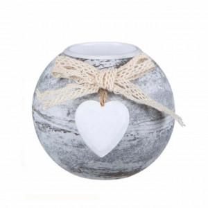 Suport decorativ pentru lumanare Pufo Heart, alb