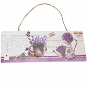 Tablita decorativa din lemn cu termometru incorporat, model Lavender, 25 cm