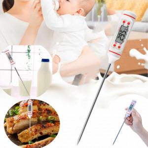 Termometru digital cu sonda pentru bucatarie, lichide, alimente, lactate, prajituri, ceara, etc. -50° C - +300° C, alb