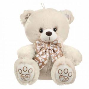 Ursulet de plus Teddy, bej cu papion, 28 cm