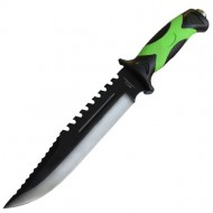 Cutit cu maner ergonomic cauciuc texturat 32 cm, teaca din material textil, verde cu negru