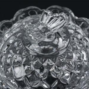 Bomboniera Pufo Butterfly din sticla cu capac, 230 ml