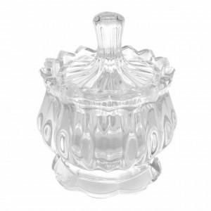 Bomboniera tip zaharnita Pufo Elegance din sticla cu capac, 12 cm