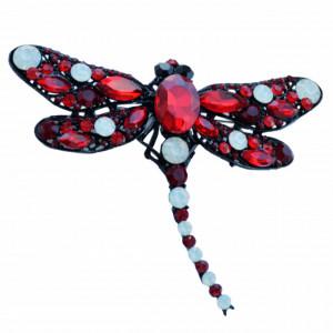 Brosa dama eleganta in forma de libelula mare cu pietricele, Red dragon-fly