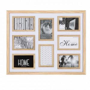 Cadru decor foto Pufo din lemn cu 8 poze, maro deschis
