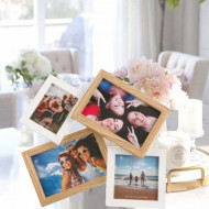 Cadru rama foto decorativa Pufo Whitey pentru 4 poze, 31 x 29 cm