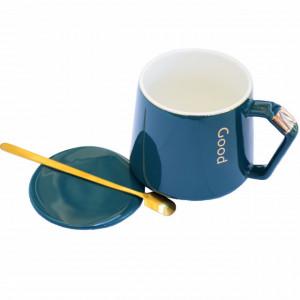 Cana cu capac din ceramica si lingurita Pufo Elegance pentru cafea sau ceai, 300 ml, verde