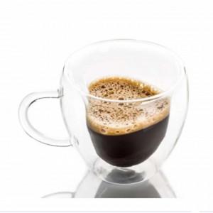 Cana cu pereti dubli Pufo pentru bauturi fierbinti, cafea sau ceai, 250 ml, interior forma inima, transparent