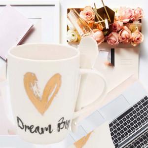 Cana din portelan Pufo Dream pentru cafea sau ceai cu lingurita, 320 ml, alb