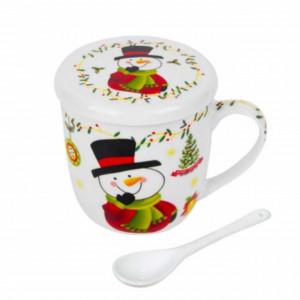 Cana pentru cafea sau ceai Pufo cu lingurita, model Om de zapada