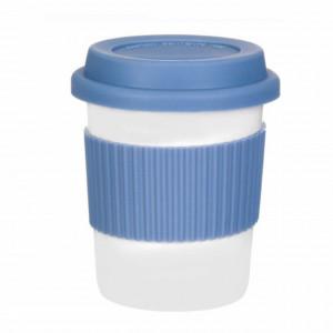 Cana Pufo pentru cafea cu capac si protectie termica din silicon, 300 ml, albastru