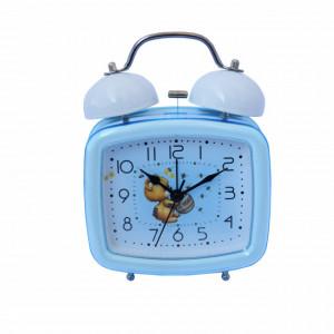 Ceas de masa desteptator pentru copii Pufo Joy, cu buton de iluminare cadran, 16 x 12 cm, model Teddy Bear