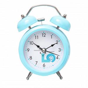 Ceas de masa desteptator Pufo Joy cu buton de iluminare cadran, metalic, 15 cm, albastru