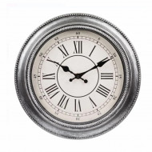 Ceas de perete rotund, model Pufo Vintage, 30 cm, gri