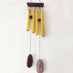 Clopotel de vant cu 8 tuburi sonore metalice aurii pentru casa sau gradina, model Feng-shui