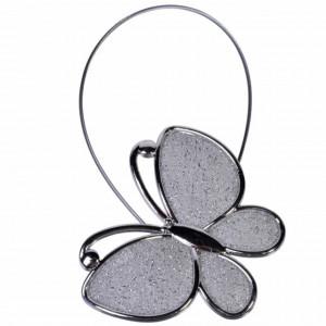 Cordon de strangere pentru draperie sau perdea cu magnet, model fluture, argintiu, Pufo