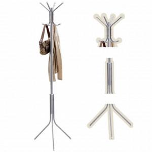 Cuier metalic Pufo cu picior pentru casa sau spatiu comercial, argintiu, 176 cm