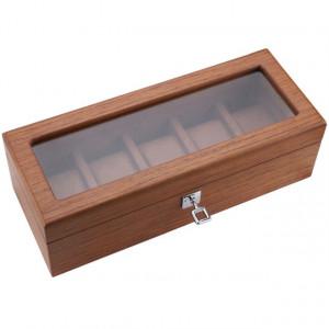 Cutie caseta din lemn pentru depozitare si organizare 5 ceasuri, model Pufo Elite Edition cu cheita, maro