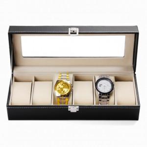 Cutie caseta eleganta depozitare cu compartimente pentru 6 ceasuri, negru