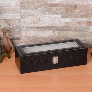 Cutie caseta eleganta depozitare cu compartimente pentru 6 ceasuri, imprimeu crocodil, negru