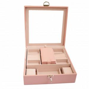 Cutie caseta eleganta Pufo Glamour cu oglinda pentru depozitare si organizare bijuterii, roz