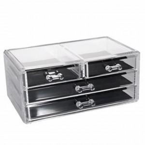 Cutie cu sertare pentru organizare bijuterii, accesorii si cosmetice, Pufo, transparent