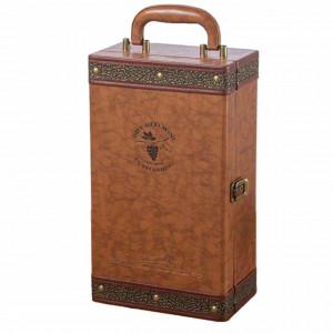 Cutie eleganta cu 2 compartimente pentru sticle de vin, model Pufo Elite cu maner si 4 accesorii incluse, maro