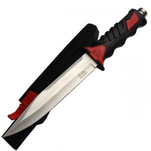 Cutit baioneta 34 cm, teaca material pvc, negru + rosu