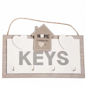Decoratiune Pufo din lemn cu agatatoare pentru chei, model Home is love