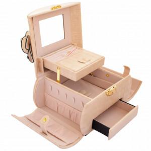 Geanta eleganta Pufo Glossy pentru depozitare si organizare accesorii si bijuterii crem