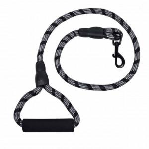 Lesa Pufo pentru caini de talie mare cu bucla de prindere, 110cm, rezistenta, negru