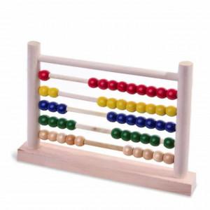 Numaratoare abac cu bile colorate din lemn, Pufo, 28 x 20 cm, multicolor