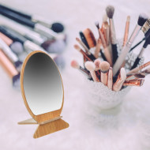 Oglinda rotunda pentru cosmetica cu suport din lemn, 18 cm, maro inchis