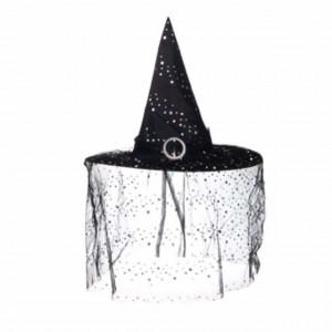 Palarie vrajitoare Pufo Halloween cu catarama si sclipici, neagra