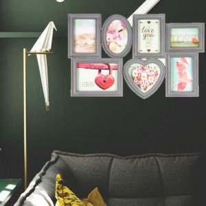 Panou Pufo Heart pentru fotografii cu 7 locuri, model vintage, gri