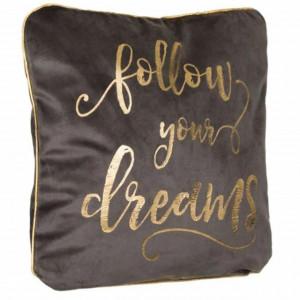Perna decorativa Pufo din catifea, model Follow Dreams, pentru canapea, pat, fotoliu