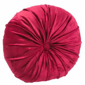 Perna decorativa rotunda Pufo din catifea cu buton, model Romantic velvet, pentru canapea, pat, fotoliu, rosu